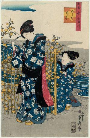 Utagawa Sadahide: The Ide Jewel River in Yamashiro Province (Yamashiro Ide), from the series Contest of Famous Places: The Six Jewel Rivers (Meisho awase Mu Tamagawa) - Museum of Fine Arts