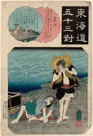 歌川国芳: Fujikawa, from the series Fifty-three Pairings for the Tôkaidô Road (Tôkaidô gojûsan tsui) - ボストン美術館