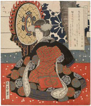 屋島岳亭: Woman with Gagaku Instrument, from the series Pentaptych for the Hisakataya Poetry Club (Hisakataya gobantsuzuki) - ボストン美術館