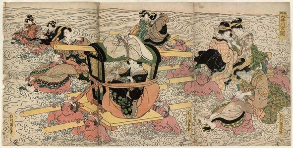 Utagawa Kuninao: Newly Published Complete View of the Ôi River (Shinpan Ôikawa zenzu) - ボストン美術館