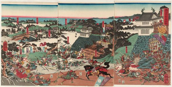 歌川芳虎: The Great Battle of Takadachi in Ôshû Province (Ôshû Takadachi ôgassen) - ボストン美術館