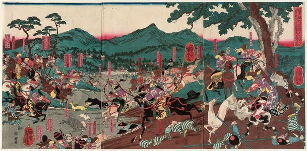 歌川芳虎: At the Hunt in the Foothills of Mount Fuji, the Soga Brothers... Their Enemy Kudô (Fuji susono makigari ni oite Soga kyôdai teki Kudô o nerou zu) - ボストン美術館