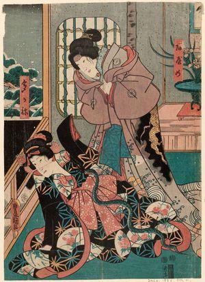 Utagawa Kunisada: Actors Iwai Kumesaburô III as Ayame and Ichikawa Saruzô I as Takane - Museum of Fine Arts