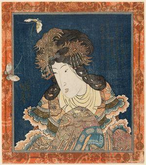 歌川国貞: Chinese Woman and Butterflies - ボストン美術館