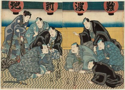 Utagawa Kunisada: Actors Meeting at Shinchi in Osaka: Nakamura Tsuruzô I, Mimasu Daigorô IV, Nakamura Fukusuke I, Nakamura Utaemon IV (R); Arashi Rikan III, Ichimura Takenojô V, Kataoka Ichizô I, Sawamura Kitô III (L) - Museum of Fine Arts