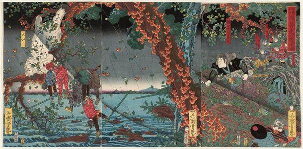 Utagawa Yoshitsuya: In the Kiso Mountains, Higuchi Kanemitsu Defeats a Giant Baboon (Kiso sanchû Higuchi Kanemitsu daihi taiji) - Museum of Fine Arts