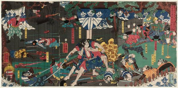 Utagawa Yoshikazu: On the 28th Day of the Fifth Month of 1193, in the Foothills of Mount Fuji, the Soga Brothers Carry Out a Night Attack and Achieve Their Desire (Kenkyû yonen gogatsu nijûhachinichi Fuji no susono Soga kyôdai youchi honmô no zu) - Museum of Fine Arts
