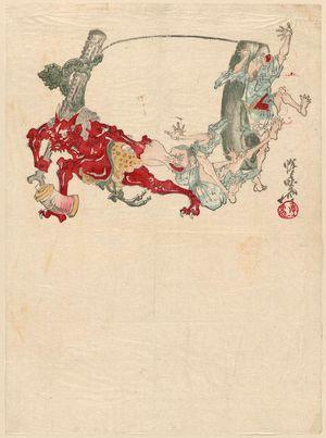 河鍋暁斎: Sheet of letter paper - ボストン美術館