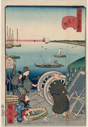 Utagawa Hirokage: No. 23, Takanawa in Shiba (Shiba Takanawa), from the series Comical Views of Famous Places in Edo (Edo meisho dôke zukushi) - Museum of Fine Arts