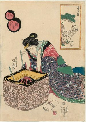 Utagawa Kunisada: Pine Tree and Crane (Matsu ni tsuru), from the series Collection of Fashionable Pairings (Fûryû aioi zukushi) - Museum of Fine Arts
