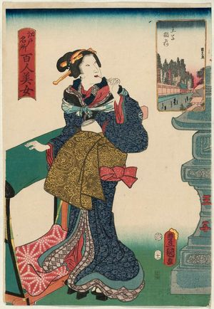 Utagawa Kunisada: Ôji Inari Shrine, from the series One Hundred Beautiful Women at Famous Places in Edo (Edo meisho hyakunin bijo) - Museum of Fine Arts