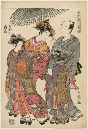 磯田湖龍齋: Shioginu of the Tsutaya, from the series Models for Fashion: New Year Designs as Fresh as Young Leaves (Hinagata wakana no hatsu moyô) - ボストン美術館