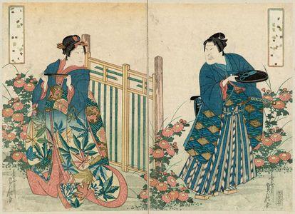 代長谷川貞信: Actors Ichikawa Morinosuke I as Koshô Kichiza (R) and Onoe Tamizô II as Yaoya Oshichi (L) - ボストン美術館