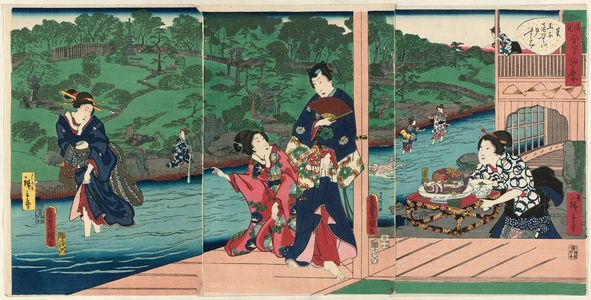 Utagawa Kunisada: Summer: Enjoying the Cool of Evening at the Otonashi River in Ôji (Natsu, Ôji Otonashi-gawa yûsuzumi), from the series Four Seasons of Genji by Two Brushes (Genji gôhitsu shiki) - Museum of Fine Arts