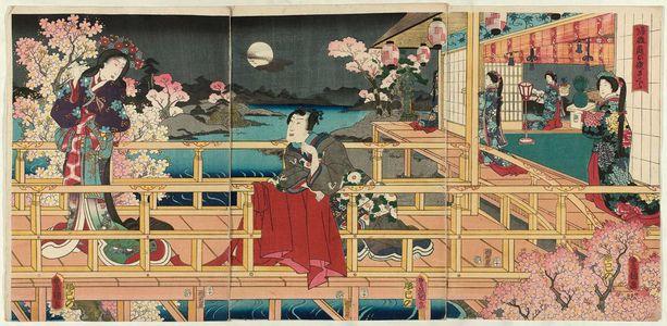 歌川国貞: Cherry Blossoms at Night in the Garden of Returning Geese (Kigantei no yozakura) - ボストン美術館