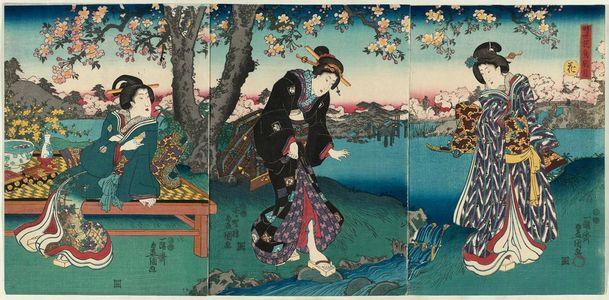 歌川国貞: Flowers (Hana), from the series Contemporary Flowers and Birds, Wind and Moon (Jisei kachô fûgetsu) - ボストン美術館