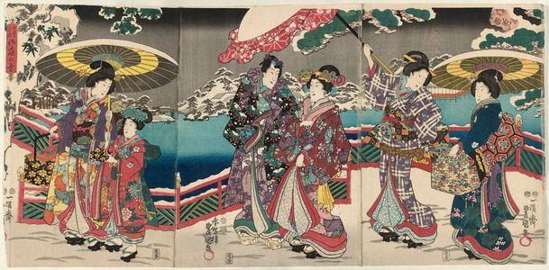歌川国貞: Snow in the Palace Garden (Gotei no yuki) from the series The Four Seasons (Shiki no uchi) - ボストン美術館