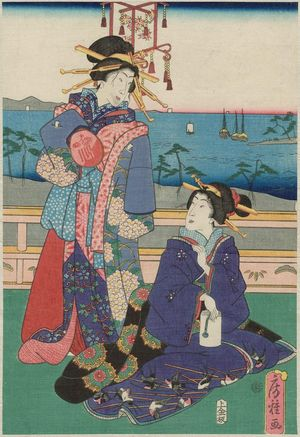 Utagawa Fusatane: Courtesans on a Balcony Overlooking the Bay - Museum of Fine Arts