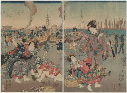 Utagawa Sadahide: Women on the Beach - Museum of Fine Arts