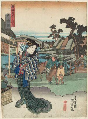 Utagawa Kunisada: View of Totsuka (Totsuka zu), from the series Fifty-three Stations of the Tôkaidô Road (Tôkaidô gojûsan tsugi no uchi) - Museum of Fine Arts