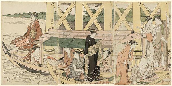鳥居清長: A Boating Party under Azuma Bridge - ボストン美術館