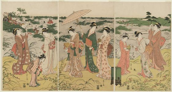 Hosoda Eishi: Ladies Imitating a Courtly Insect Hunt - Museum of Fine Arts