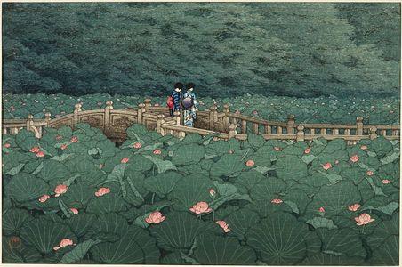 川瀬巴水: The Pond at Benten Shrine in Shiba (Shiba Benten ike) - ボストン美術館