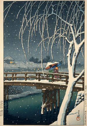 Kawase Hasui: Evening Snow at Edogawa (Kure no yuki [Edogawa]) - Museum of Fine Arts