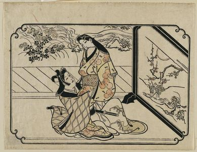 菱川師宣: A Young Man Embracing a Standing Courtesan, from an untitled series of twelve erotic prints - ボストン美術館