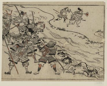 菱川師宣: A mounted warrior and five foot-soldiers; two more across the river rush to battle. - ボストン美術館