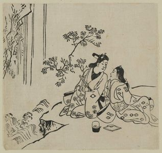 菱川師宣: Lovers by a waterfall (Sugata-e hyakunin isshu?) - ボストン美術館