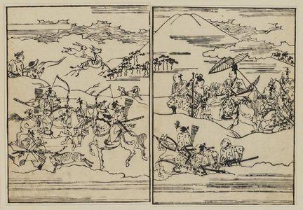 菱川師宣: Hunting party before Mt. Fuji - ボストン美術館