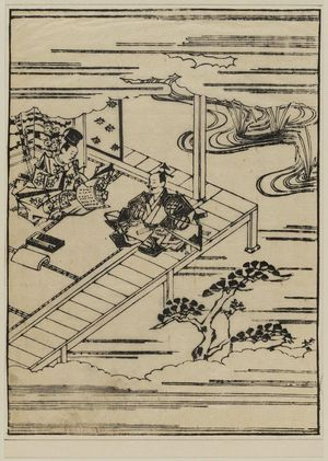 菱川師宣: Warrior seated on a veranda while another man writes - ボストン美術館