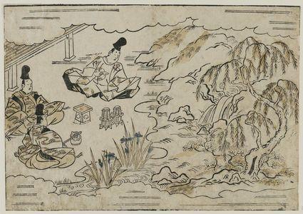 菱川師宣: Noblemen Drinking in a Garden, from the book Hana awase (Contest of Flowers) - ボストン美術館