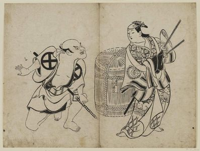 Okumura Masanobu: Actors Fujimura Handayu as the drunken courtesan Takama and Otani Hiroeman as a Yakko. Theatrical prints. - Museum of Fine Arts