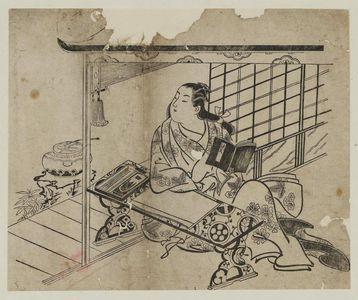Okumura Masanobu: Murasaki Shikibu. Series - Ukiyoe Genji, No. 12 - Museum of Fine Arts