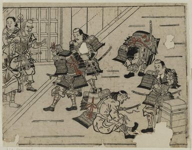 菱川師宣: The Shutendoji story (5). Raiko and his followers don their armor to dispatch the drunken Shutendoji - ボストン美術館