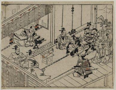 菱川師宣: The Rashomon story (2). Raiko presents a demon's arm for inspection at court. - ボストン美術館