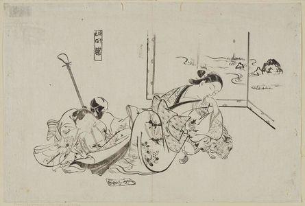 奥村政信: Courtesans Imitating the Four Sleepers (Yûkun shisui), from a set of parodies by courtesans - ボストン美術館