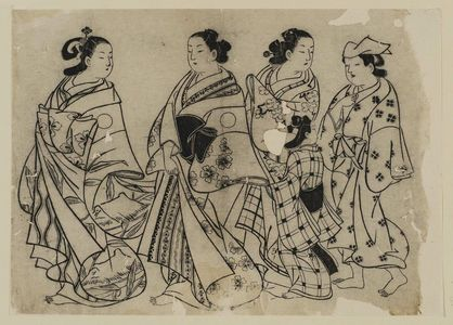 Okumura Masanobu: Courtesans in procession - Museum of Fine Arts