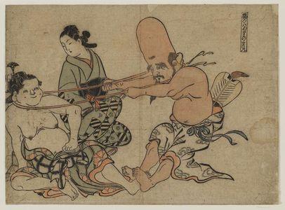 奥村政信: Tug of War -- Seven Gods of Good Fortune - ボストン美術館