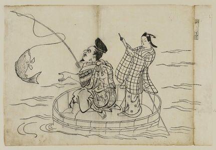 Okumura Masanobu: Tsuri ---Ki no sendaku, from an untitled series of the Seven Gods of Good Fortune in the pleasure quarters - Museum of Fine Arts