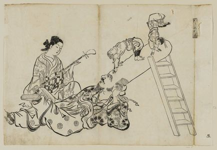 Okumura Masanobu: A Ladder As a Pillow for Fukuroku (Hashigo wa Fukuroku no makura), from an untitled series of the Seven Gods of Good Fortune in the pleasure quarters - Museum of Fine Arts