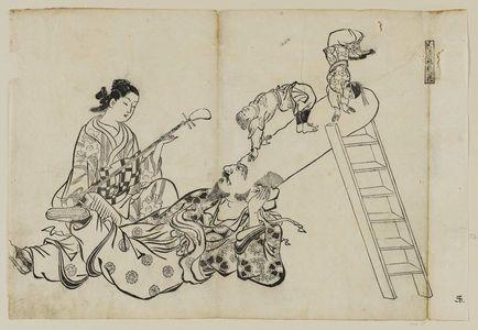 Okumura Masanobu: A Ladder As a Pillow for Fukuroku (Hashigo wa Fukuroku no makura), from an untitled series of the Seven Gods of Good Fortune in the pleasure quarters - Museum of Fine Arts