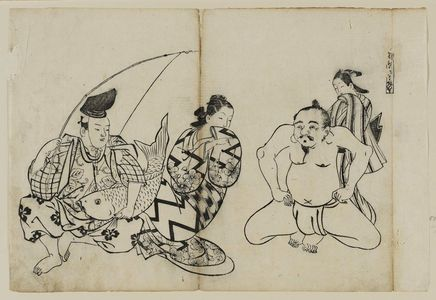 Okumura Masanobu: Hana ni utsu hadaka Ebisu. (The Naked Ebisu), from an untitled series of the Seven Gods of Good Fortune in the pleasure quarters - Museum of Fine Arts