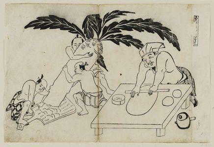 奥村政信: Daikoku no teuchi wa Komi no gyosan. (Daikoku's hand-made products, fully flavored), from an untitled series of the Seven Gods of Good Fortune in the pleasure quarters - ボストン美術館