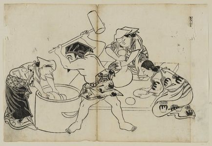 Okumura Masanobu: Kone (?) Daikoku, assisted by three women, pounding mochi, from an untitled series of the Seven Gods of Good Fortune in the pleasure quarters - Museum of Fine Arts