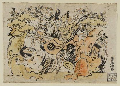 Torii Kiyonobu I: Actors Ogawa Zengoro, Ichimura Takenojo, Nakajima Mihoemon and Otani Hiroji - Museum of Fine Arts