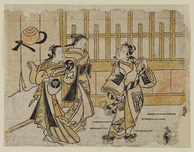 Torii Kiyomasu I: Actors Ichikawa Danjûrô II as Sukeroku, Nakamura Takesaburo as Agemaki, and Tamazawa Rinya as another courtesan - Museum of Fine Arts
