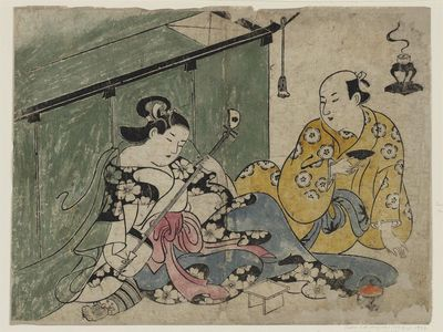 Torii Kiyonobu I: Courtesan and Guest with Mosquito Net - Museum of Fine Arts